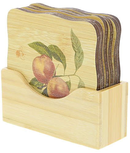 "Bamboo Coaster -Square Bamboo Coaster - 6 Piece Set - 3.5"" x.2"""