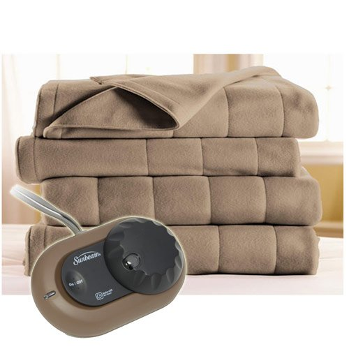 Sunbeam Heated Electric Blanket Royal Dreams Quilted Fleece Twin Mushroom