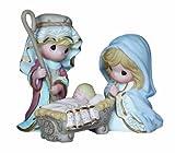 "Precious Moments, Christmas Gifts, ""Come Let Us Adore Him"",  Bisque Porcelain Mini Figurines, 3 Piece Set,#131032"