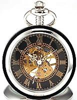 AMPM24 Black Dial Magnifier Mens Skeleton Mechanical Silver Pocket Watch Fob Chain WPK023