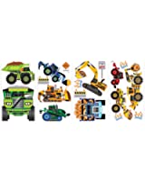 RoomMates SPD0003SCS Construction Vehicles Peel and Stick Wall Decals, 18 Count, 1-Pack