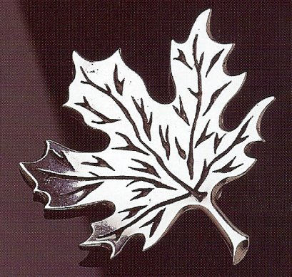 Norwegian Lonn Hoyde Pewter Maple Leaf Brooch Pin