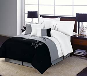Buy 7 Piece Vine Comforter Set Black White Grey Bedding King Size Bed In A Bag By Grand Linen
