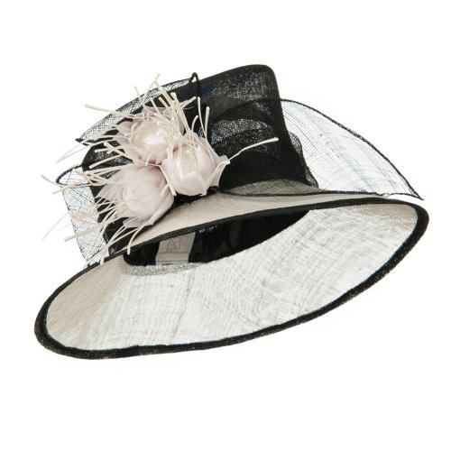 Two Tone Feather Point Sinamay Hat - Black White W26S34E