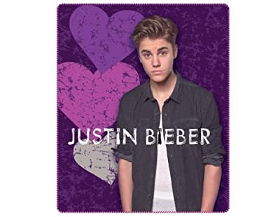 "Justin Bieber Blanket the Bieber Heart Break Fleece Throw 50"" X 60"" Justin Bieber Collectable Throw. Great Gift for Teens or Anyone At Christmas, Valentines Day or Birthdays."
