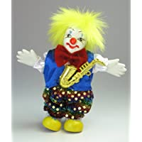 Clown Figurine - Yellow Hair and Saxaphone, Hand-Painted, Posable, Porcelain, 7