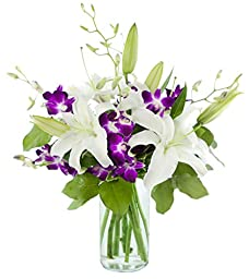 Mother\'s Day Special Elements of Style with Lilies and Orchids - With Vase