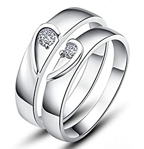 Unendlich U schön 2 Stück Herz mit 925 Sterling Silber und Cubic Zirconia für Hochzeits-Band/Jahrestag/Engagement/Versprechen Paare/Liebhaber Rings -Herren, Ring Größe 62 (19.7)(Enable to Engrave Your Own Words)