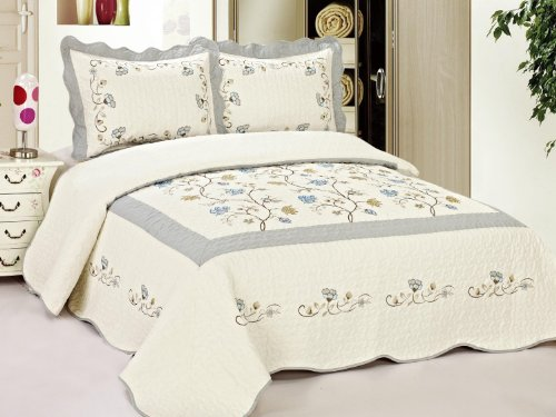 3Pc Heather Grey & Beige Fully Quilted Embroidery Bedspread Bed Coverlets Cover Set King Size front-774157