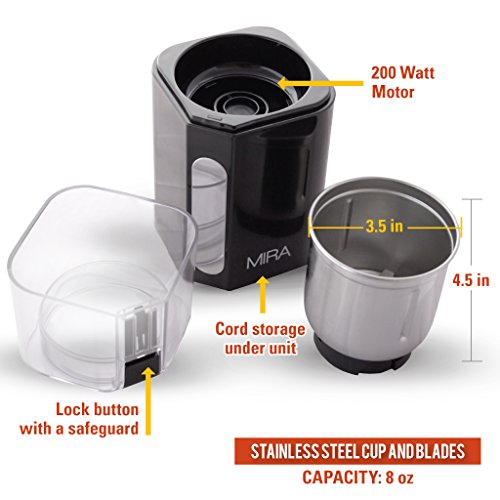 MIRA-Electric-Spice-and-Coffee-Grinder-Stainless-Steel-Blades-Removable-Cup-Cleaning-Brush