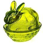 Small Green Glass Rabbit Candy Dish