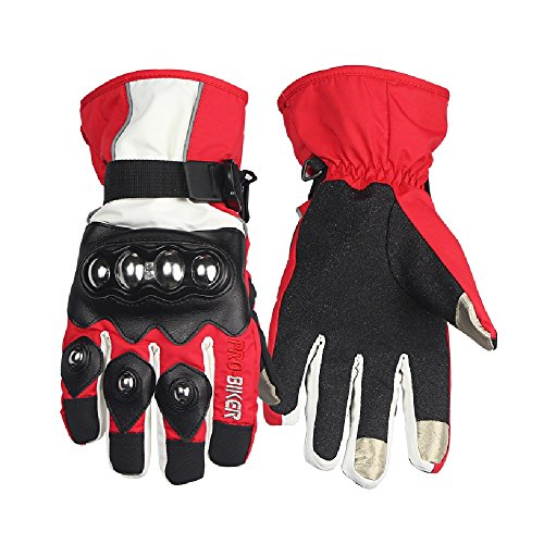 TAIPU New Hot Sale Free Shipping Off-Road Full Finger Motorcycle Gloves Racing Luvas Riding Thickened Long Winter Guantes Protection M L XL (L, Red)