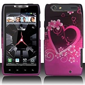 Verizon Motorola Droid RAZR 4G LTE Accessory - Lovely Heart & Flower Designer Protective Hard Case Cover + SportDroid Magnet