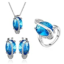 buy Superbmatch Bridal Jewelry Set 925 Silver Crystal Necklace Earrings Ring Wedding Jewelry Set Purple Green Blue Colorful /Fs012