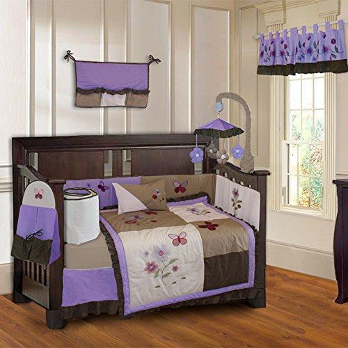 BabyFad Purple Blossom 10 Piece Baby Crib Bedding Set