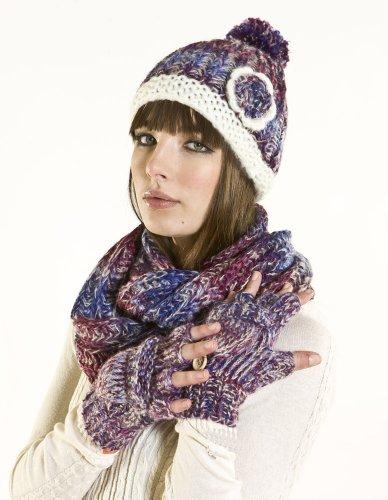 gants ensemble bonnet pompon charpe tube et moufles mitaines en tricot femme 56cm. Black Bedroom Furniture Sets. Home Design Ideas