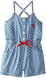 U.S. POLO ASSN. Little Girls\' Denim Romper, Red, 6X