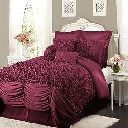 Lush Decor Lucia 4-Piece Comforter Set, Queen, Raspberry
