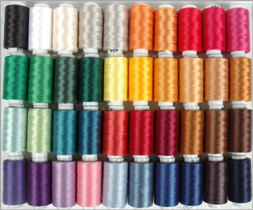 Polyester Embroidery Thread Set - 40 Spools (500 meter spools/40 wt.) - Set A Vibrant Colors