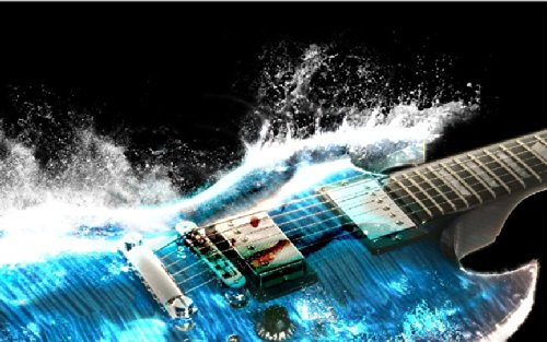"24"" Mini-Mural Electric Guitar Cool Splash #1 Wall Graphic Sticker Decal Mural Home Kids Game Room Office Art Decor New"