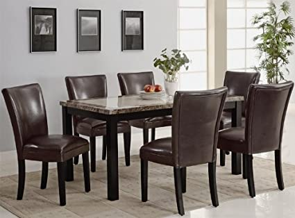 7PC Rich Faux Marble top with Rectangular Leg Dining Table and Chairs Set