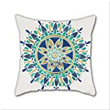 Cotton Linen Throw Pillow, Decorative Pillows.? Mandala ¨C Gold & Turquoise Cotton Linen Square Decorative Throw Pillow Case Cushion Cover 18 x 18 Inch
