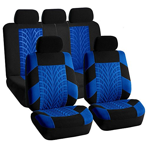 FH GROUP FH-FB071115-SEAT Travel Master Seat Covers Airbag Ready & Rear Split Blue/Black (Purple And Blue Car Seat Cover compare prices)