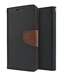 Solaris Infotech Mercury Goospery Fancy Diary Wallet Case Cover for Sony Xperia E4 (Black & Brown)