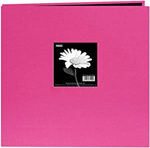 Pioneer 12-Inch by 12-Inch Book Cloth Cover Postbound Album with Window, Bright Pink