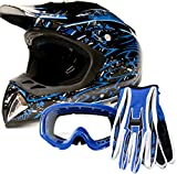 Adult Offroad Helmet Goggles Gloves Gear Combo DOT Motocross ATV Dirt Bike MX Black Blue Splatter ( Large )