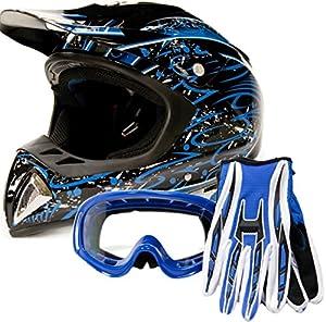 Adult Offroad Helmet Goggles Gloves Gear Combo DOT Motocross ATV Dirt Bike MX Black Blue Splatter ( Medium )