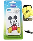 BUKIT CELL Disney ® Mickey Mouse HARD BACK PIECE Faceplate Protector Case Cover (Classic Mickey) for Apple iPhone 4S / 4G / 4 (Fits any carrier AT&T, VERIZON AND SPRINT) + Free WirelessGeeks247 Metallic Detachable Touch Screen STYLUS PEN with Anti Dust Plug