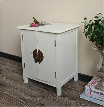 kleiner schrank im asia stil nachttisch wei im used look h48cm db841. Black Bedroom Furniture Sets. Home Design Ideas