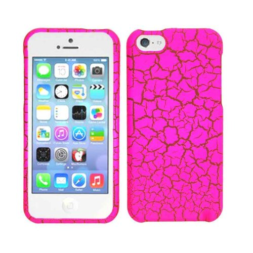 Buy  2013 New Release Apple iPhone 5C Hot Pink Egg Crackle Design Rubbery Hard Case/Cover/Faceplate/Snap On/Protector + Screen Protector + Wireless Fones' Logo Bearing Wristband