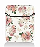 White red floral 15'' 15.4'' 15.6'' Laptop Sleeve Case Netbook Flip Bag Pouch Cover for 15.6