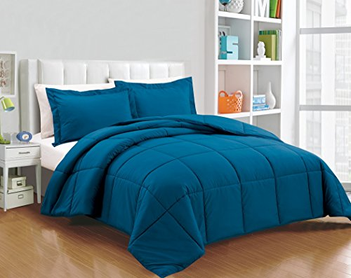 Chezmoi Collection 2-piece Down Alternative Comforter Set (Twin, Teal) (Twin Teal Quilt compare prices)