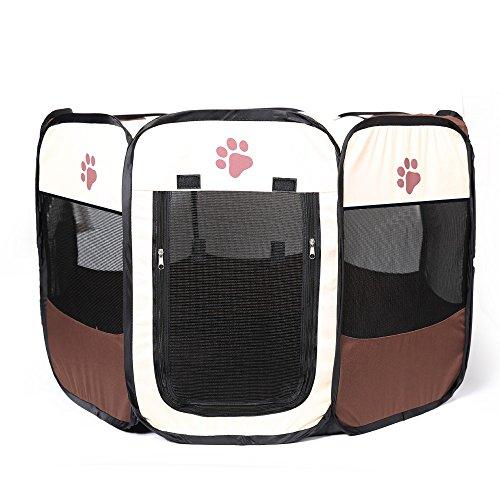 YOUJIA Box Per Animali Trasportino Per Cani Domestici Gabbia Per Gatti Domestici Recinzione Per Cuccioli Animali Pieghevole (Marrone,