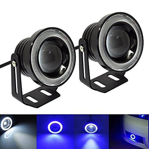 Amak 3inch Car LED Fog Lights White Projection + Blue Halo Ring Angel Eyes For Daytime Driving Light DRL Bulbs (Angel Eyes Fog Light Kit compare prices)