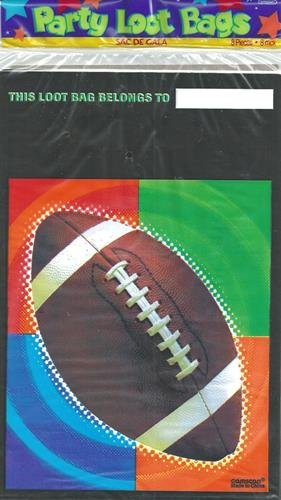 Sports Theme Party Supplies Plastic Loot Bags Football 8 Ct 6.5 x 10 Inches - 1