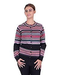 eWools Women's Black::Multicolor Wool Sweater (734-eWools-Medium)