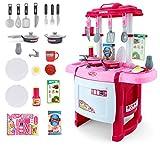 Soul 子供 ままごと キッチン 玩具 おままごと カトラリー キッチンセット 知育玩具 音楽 キッチン (ピンク)