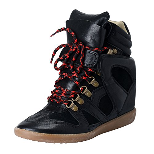 isabel-marant-womens-black-suede-leather-ankle-wedge-sneakers-shoes-us-9-it-39