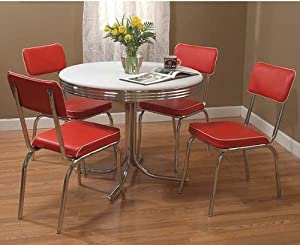 5 Piece Retro Style Dining Set White Red