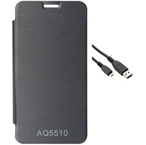 EXXONINC Premium Flip Cover Case for Micromax Yureka Yu YUREKA AO5510 Mobile (Black)+DATA CABLE