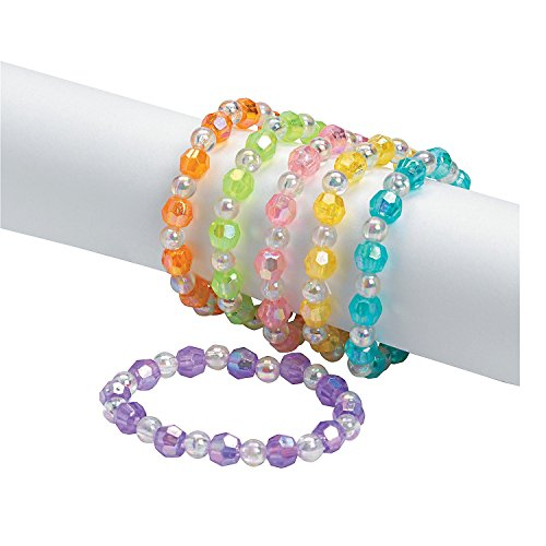 Assorted Plastic Iridescent Bead Bracelets 24 Pcs