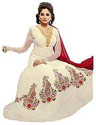 Brides Galleria Women's Off White Faux Georgette Anarkali Suit