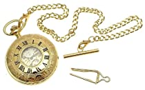 Gold colour metal cased half hunter pocket watch