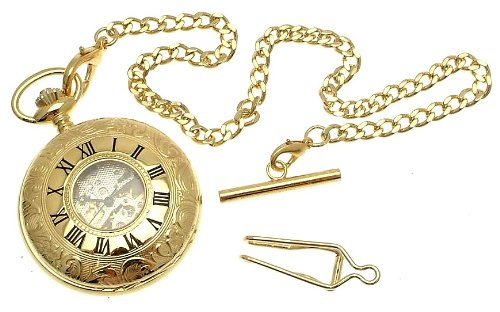 Gold colour metal cased double hunter pocket watch with window, chain and fob