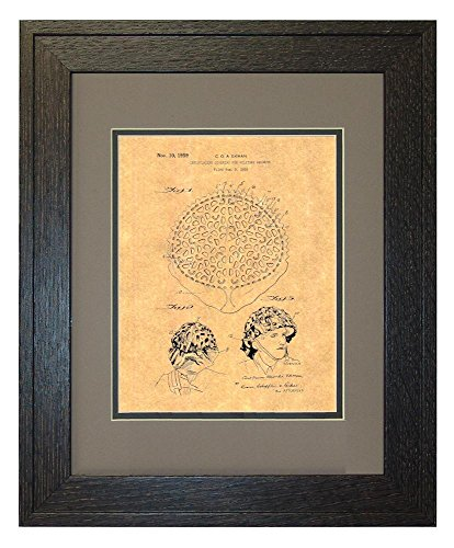 "Camouflaging Covering For Military Helmets Patent Art Print in a Rustic Oak Wood Frame with a Double Mat (11"" x 14"")"