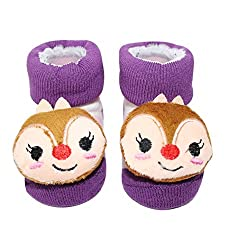Wonderkids Squirrel Plush Baby Socks Booties - Purple